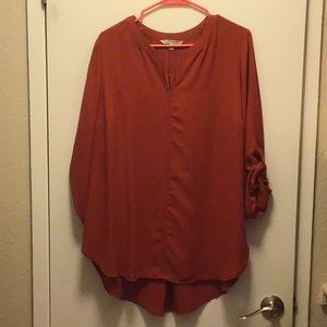 Burnt orange flowy blouse